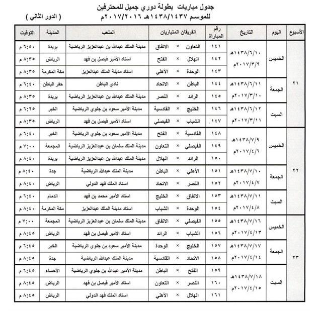 جدول مباريات الدور الثاني من دوري جميل 2017